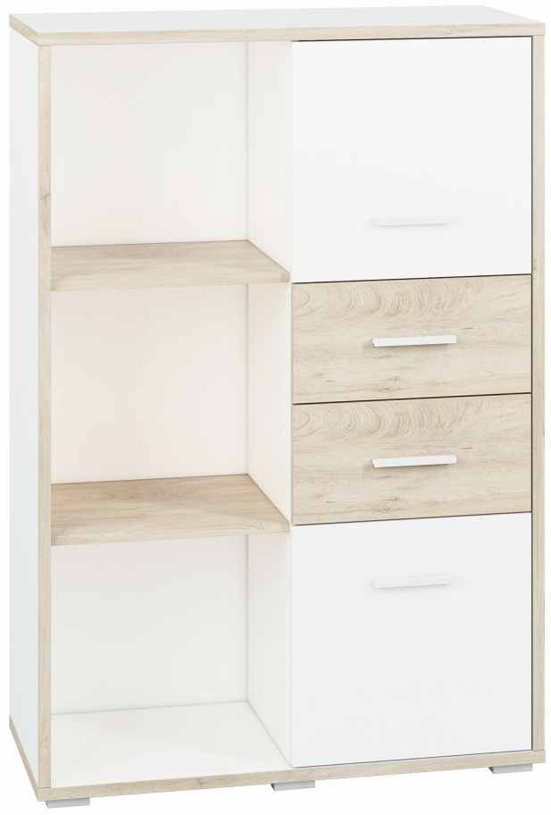 Steiner Kommode 'Forks 04' mit 2 Türen, 2 Schubladen und 5 Fächern, weiß/eiche Bild 1