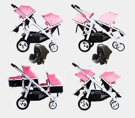 Babyfivestar Geschwisterwagen Pink inkl. 2 Babyschalen Bild 1