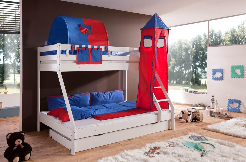 Relita 'Mike' Etagenbett weiß, inkl. Bettschublade und Textilset 1-er Tunnel, Turm und Tasche 'blau/rot' Bild 1