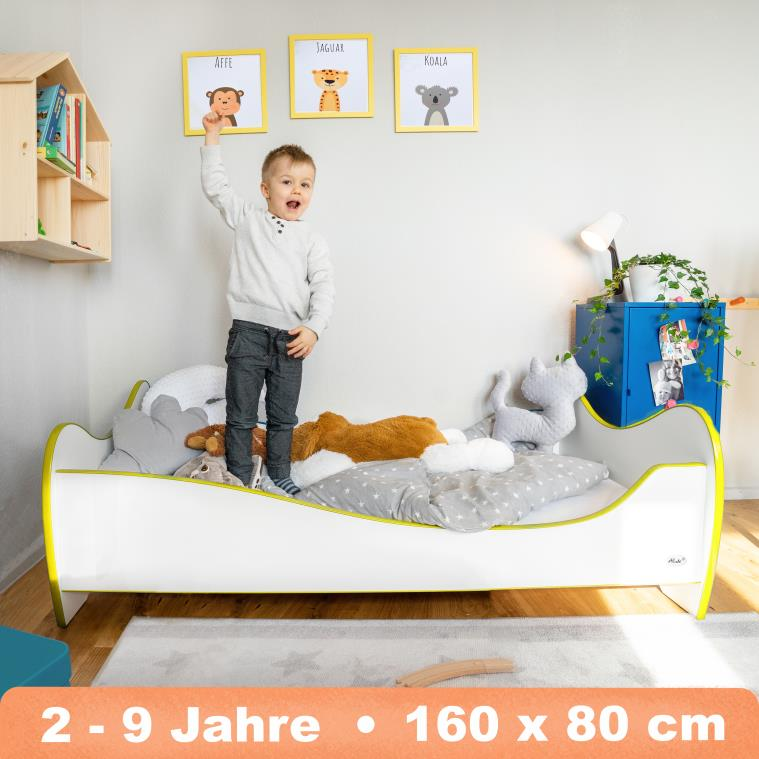 Alcube 'Swinging Yellow Edge' Kinderbett 160x80 cm mit Rausfallschutz, weiß Bild 1
