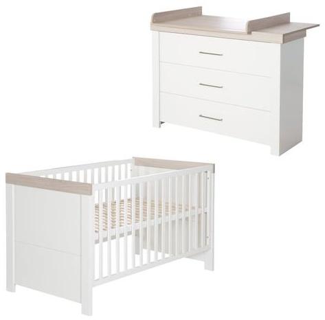 "Kindermöbelset ""Lucy' – 2-teilig, inkl. Kombi-Kinderbett 70 x 140 cm & Wickelkommode breit Bild 1"