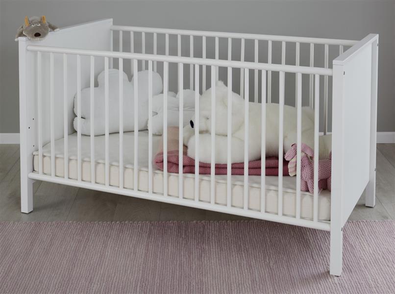 Babybett 'Ole' inkl. Umbauseiten 70 x 140 cm Liegefläche weiß Bild 1