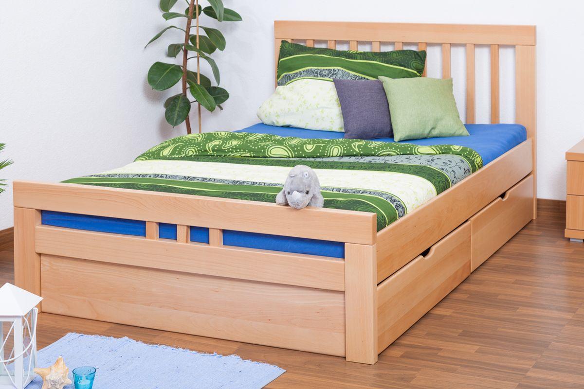 Einzelbett/FunktionsbettEasy Premium Line K8 inkl. 2 Schubladen und 1 Abdeckblende, 140 x 200 cm Buche Vollholz massiv Natur Bild 1