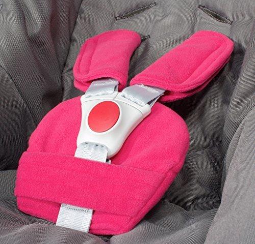 ByBoom® - Gurtpolster Set - universal für Babyschale, Buggy, Kinderwagen, Autositz (z.B. Maxi Cosi City SPS, Cabrio, Cybex Aton usw.); In vielen Farben; MADE IN EU, Farbe:Fuchsia Bild 1