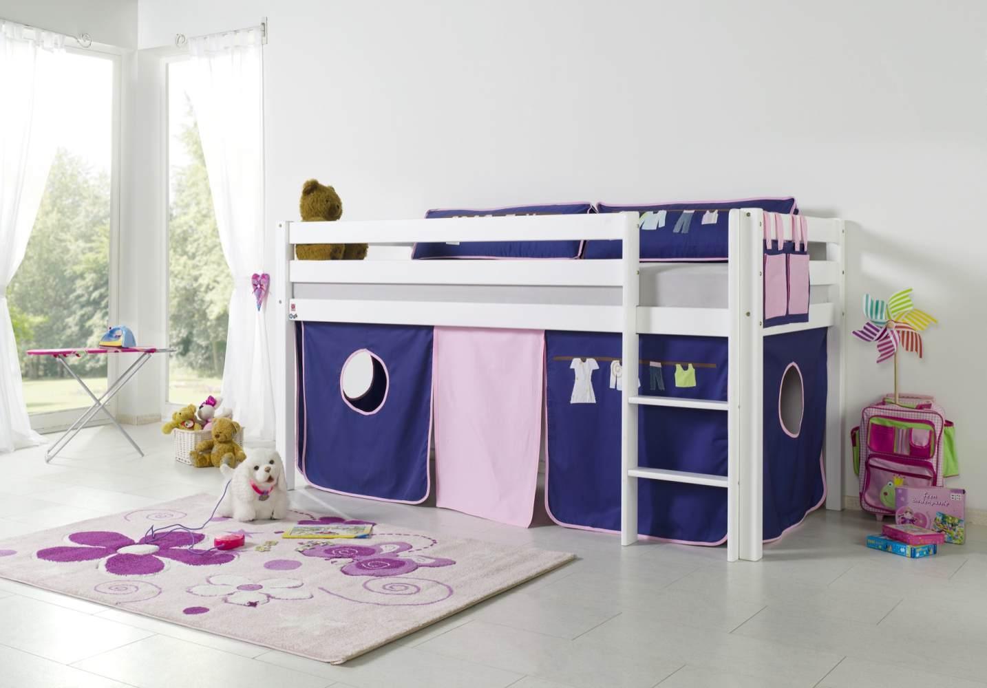 Relita Halbhohes Spielbett ALEX Buche massiv weiß lackiert mit Stoffset Kleider Bild 1