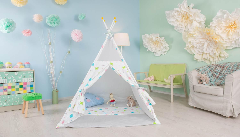 Polini Kids Tipi Spielzelt für Kinder Baumwolle mit Tasche grau Bild 1