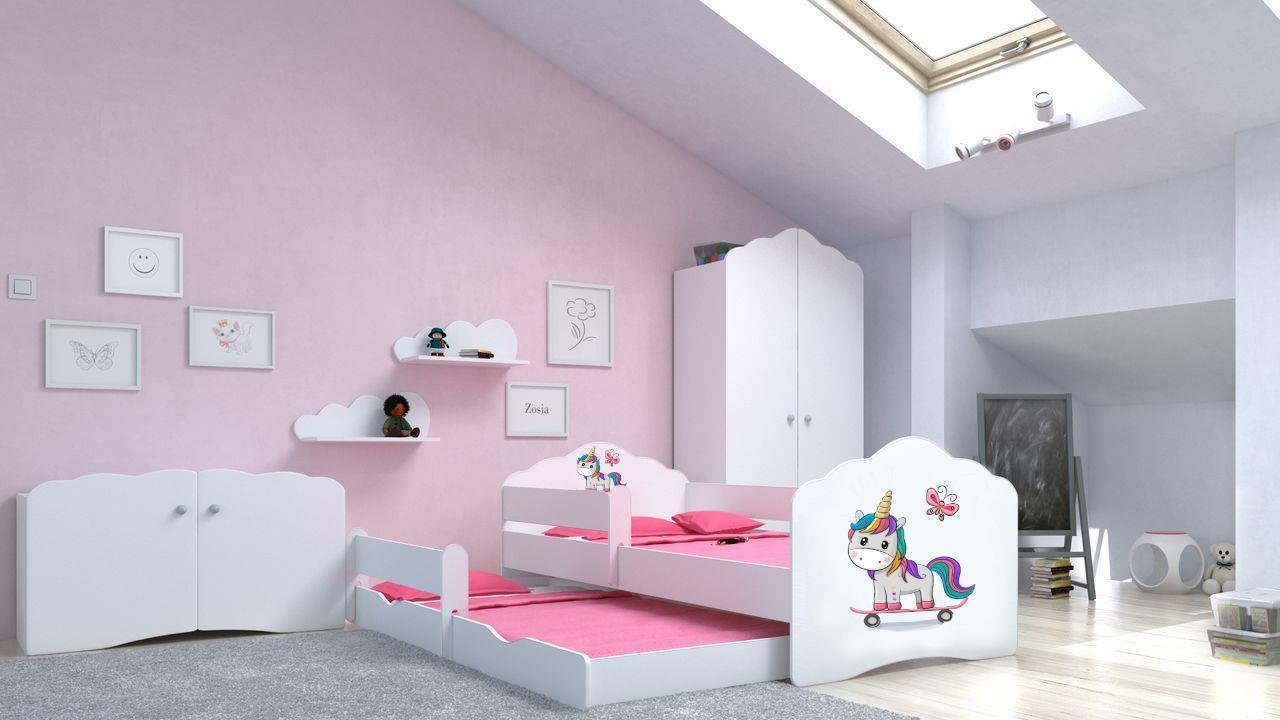 Angelbeds 'Fala' Kinderbett 80x160 cm, Motiv E2, inkl. Flex-Lattenrost, Schaummatratze und Schubbett Bild 1