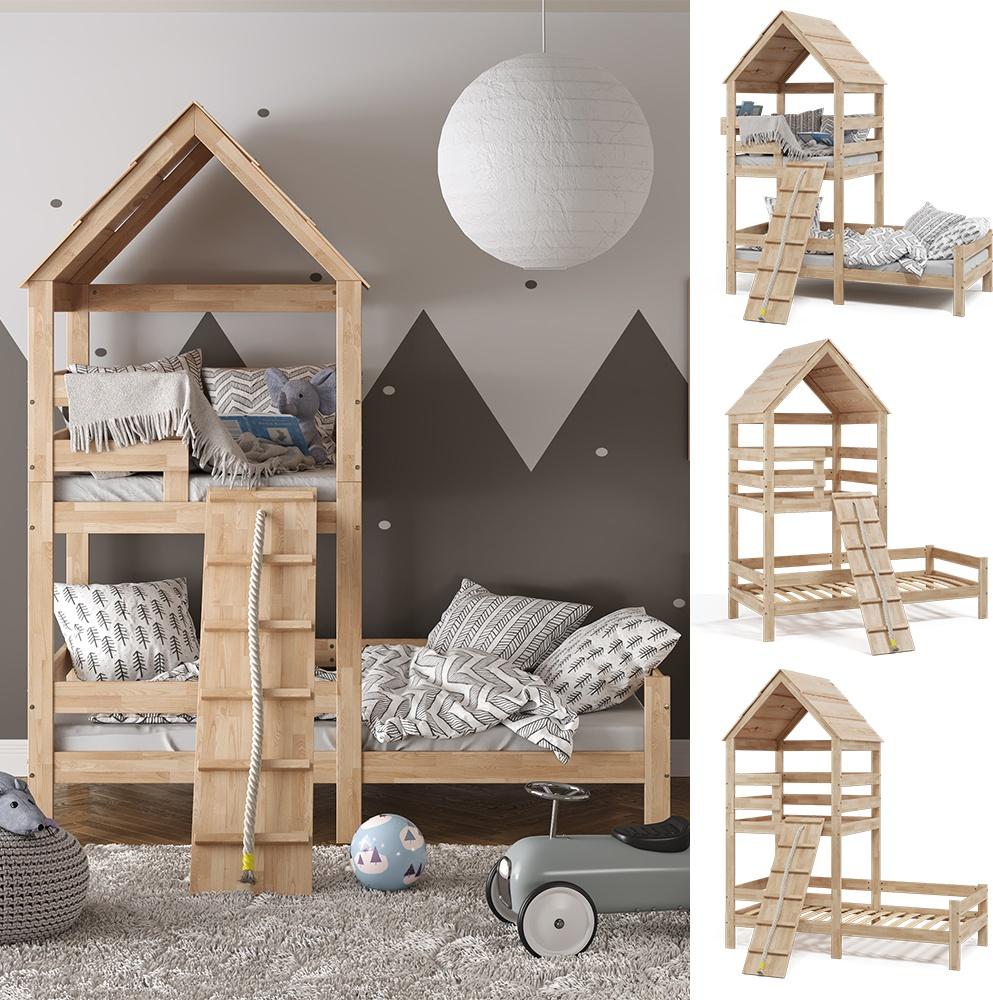 VitaliSpa 'Teddy' Spielbett 90x200cm, natur, Massivholz Buche, mit Spielturm, Lattenrost und Rausfallschutz Bild 1