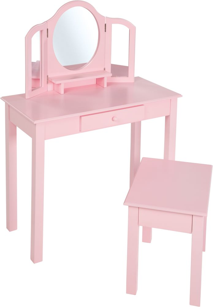Roba Schminkset mit Hocker und klappbaren Spiegelflächen rosa Bild 1