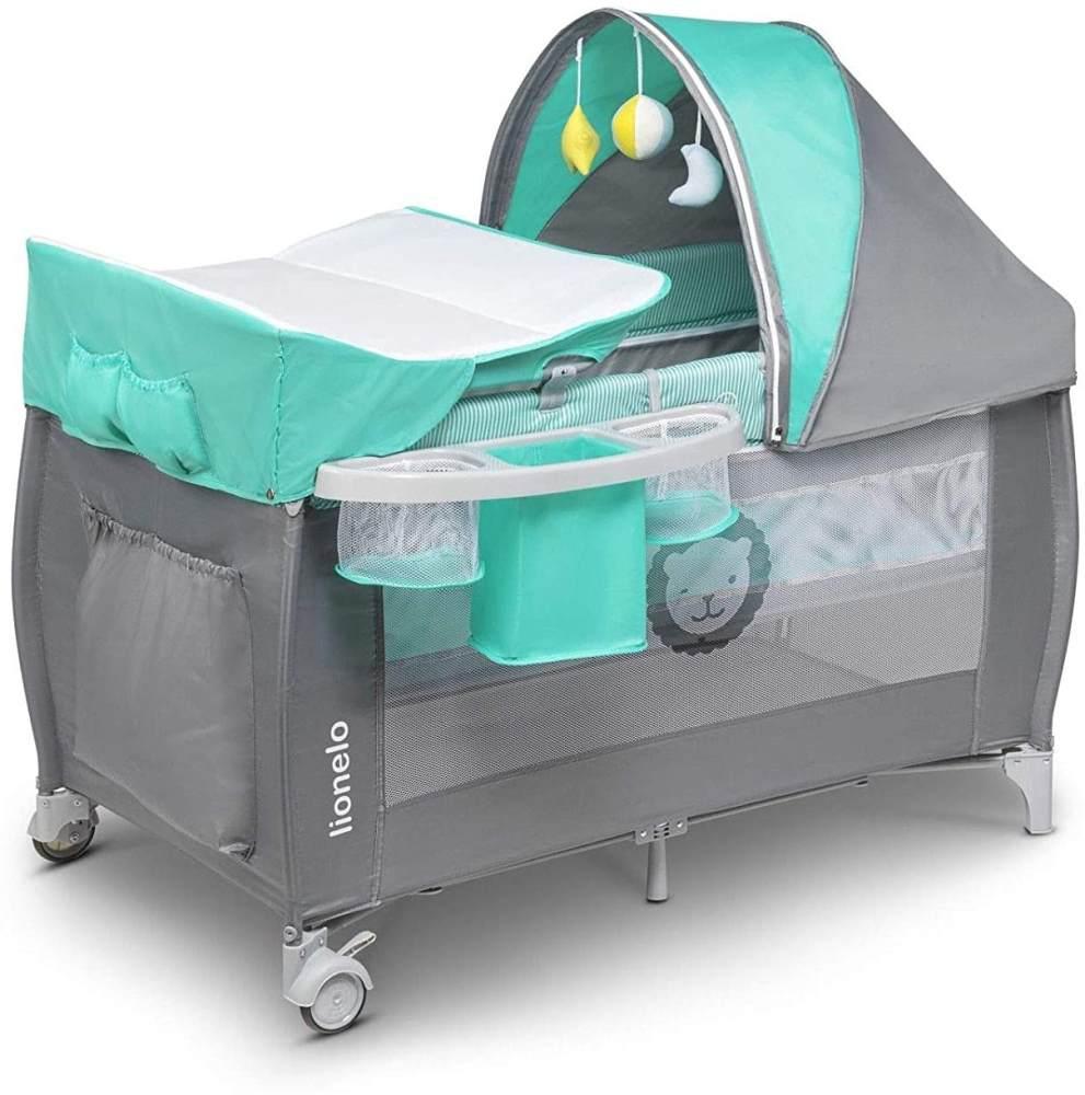 Lionelo Sven Plus 2 in 1 Baby Bett Laufstall Baby ab Geburt bis 15 kg Wickelauflage Moskitonetz luftige Seitenwände mit Seiteneingang Tragetasche zusammenklappbar (Türkis-Grau) Bild 1