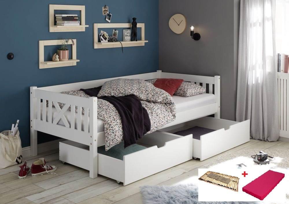 Bega 'Trevi' Kinderbett 90x200 cm, weiß, Kiefer massiv, inkl. 2 Bettkästen, Lattenrost und Matratze (pink) Bild 1