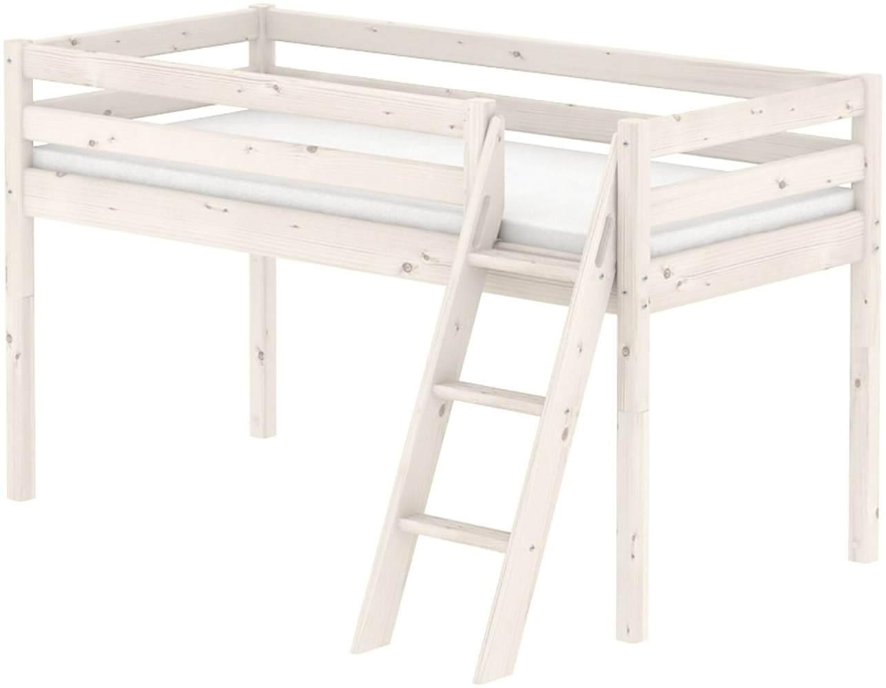 Flexa 'Classic' Halbhochbett weiß, schräge Leiter, 90x190cm Bild 1