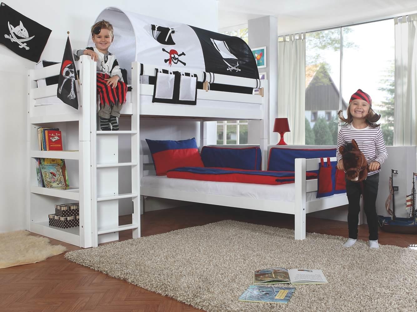 Relita Etagenbett BENI L Buche massiv weiß lackiert, 2 Liegeflächen über Eck, mit Stoffset Pirat Bild 1
