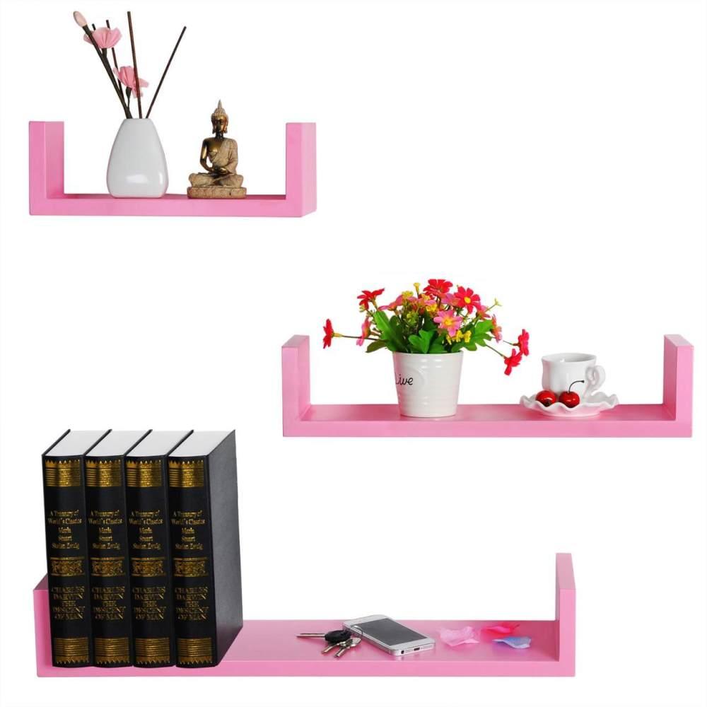 Wandregal 3er Set Bücherregal Hängeregal RG9239 rosa Bild 1