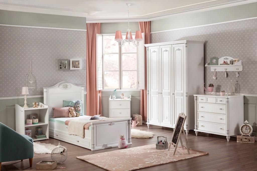Cilek 'ROMANTIC 3' 5-tlg. Kinderzimmer Set, Weiß, aus Bett, Kleiderschrank, Wandregal, Standregal und zwei Kommoden Bild 1