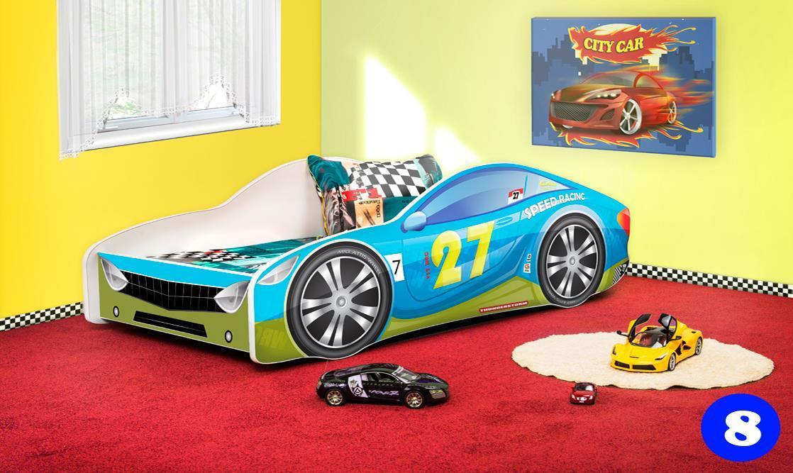 Lux4Kids Autobett 70x140 cm, Blue Green, mit Matratze und Lattenrost Bild 1