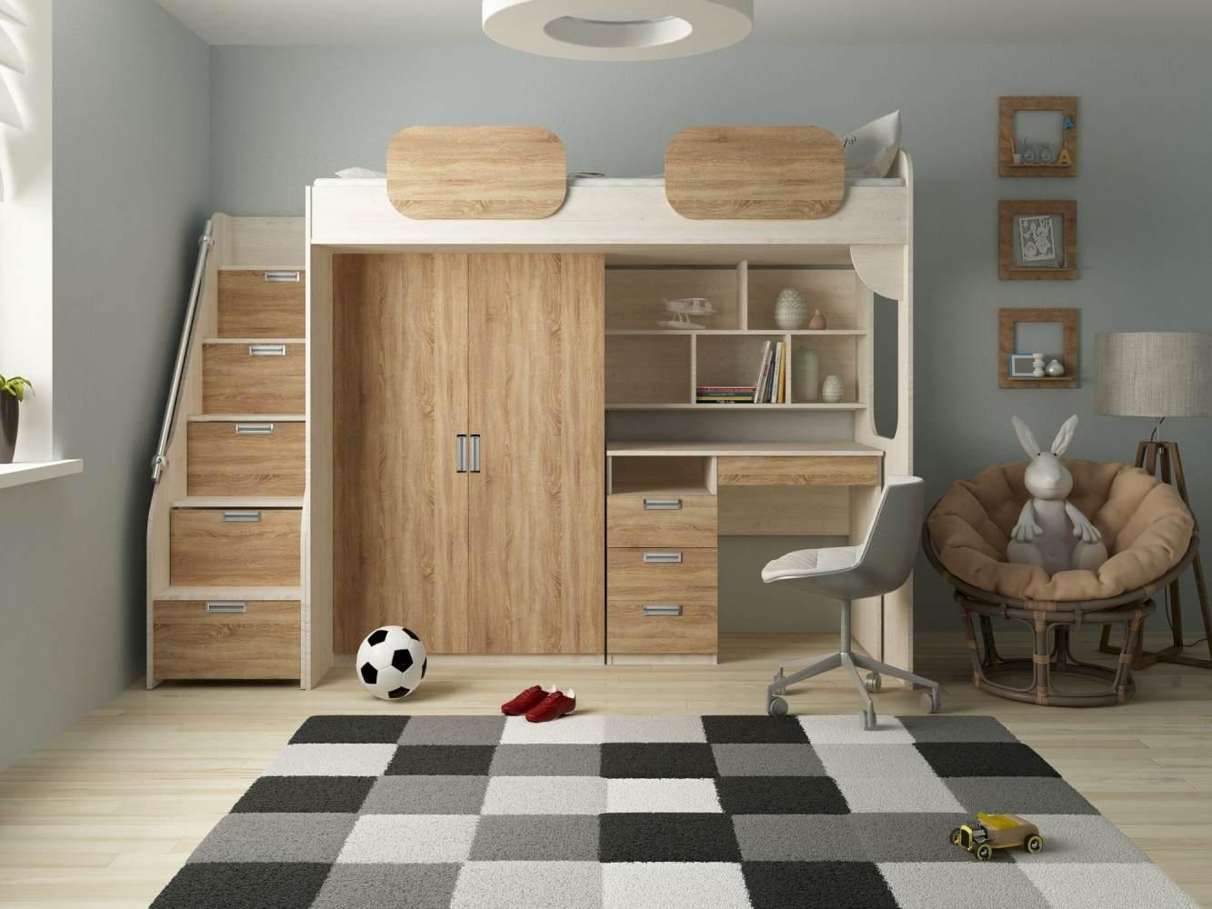 Kinder Komfort 'Geko' Schrankbett, Rustikal hell, 90x200 cm, mit Kleiderschrank und Schreibtisch Bild 1