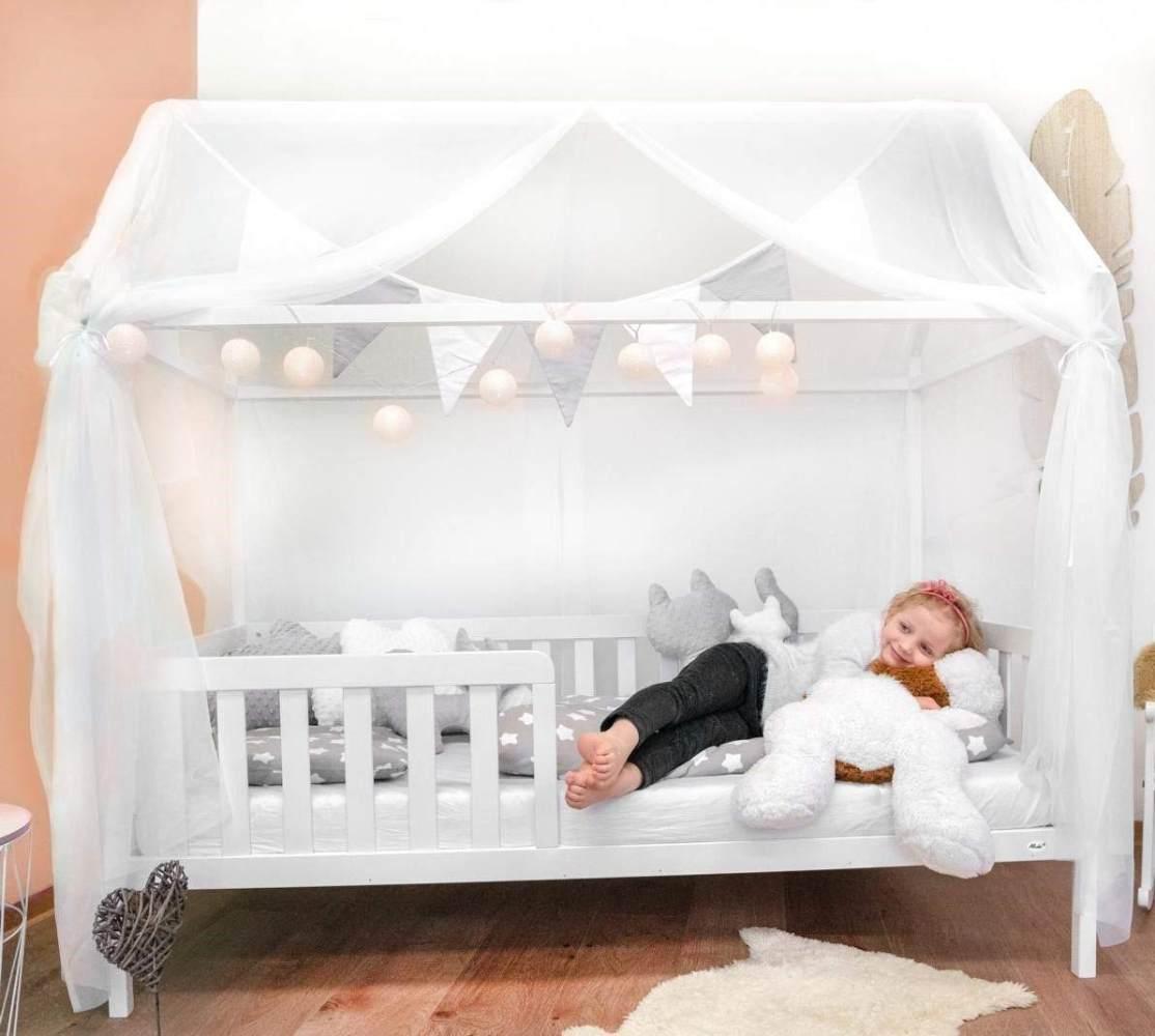 Alcube 'Heim' Hausbett 80 x 160 cm, Kiefer weiß, inkl. Rolllattenrost, Rausfallschutz, Matratze und Deko-Set Bild 1