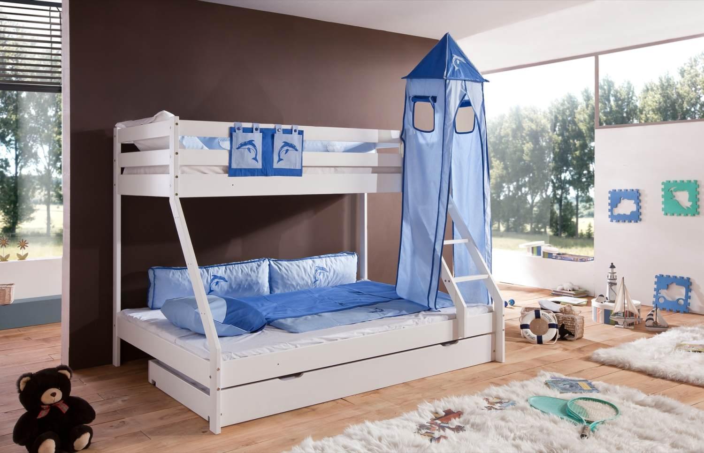 Relita 'Mike' Etagenbett weiß, inkl. Bettschublade und Textilset Turm und Tasche 'blau/delfin' Bild 1
