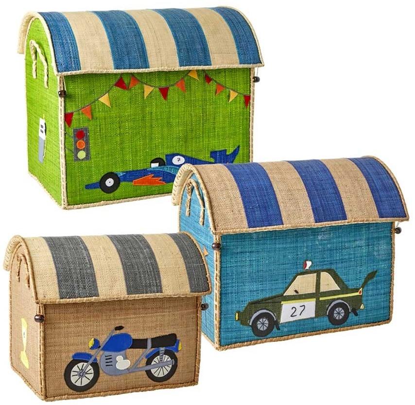 Rice Spielzeugkorb-Set Fahrzeuge natur türkis grün Bild 1