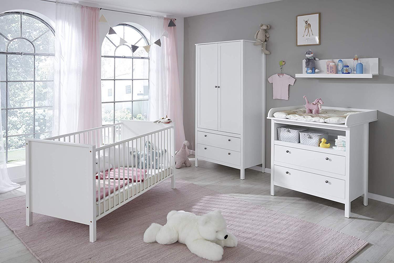 Trendteam 'Ole' 4-tlg. Babyzimmer-Set weiß, inkl. Bett, Wickelkommode, Kleiderschrank und Wandregal Bild 1