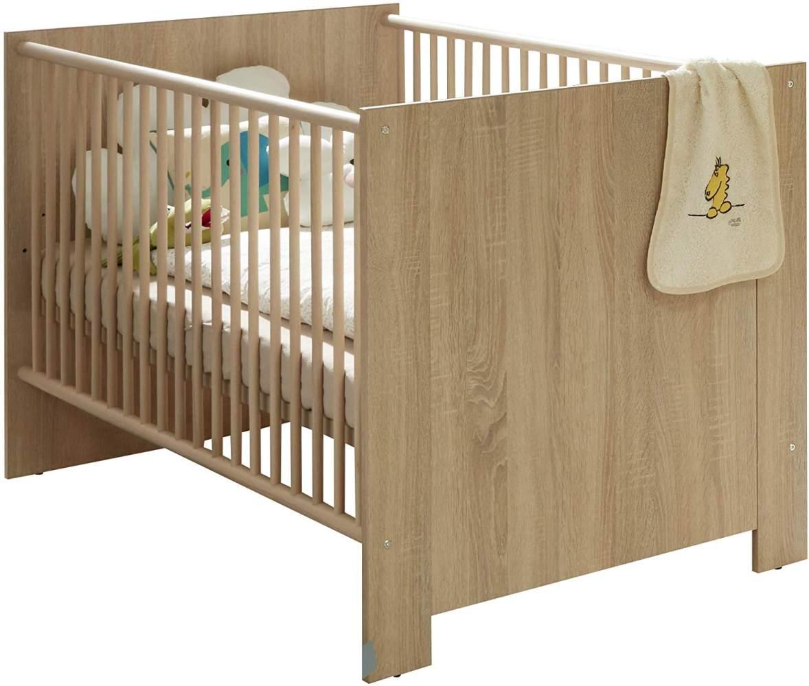 trendteam smart living Babyzimmer Babybett Kinderbett Olivia, 143 x 83 x 78 cm Eiche Sägerau hell mit dreifach höhenverstellbarem Lattenrahmen und drei herausnehmbaren Schlupfsprossen Bild 1