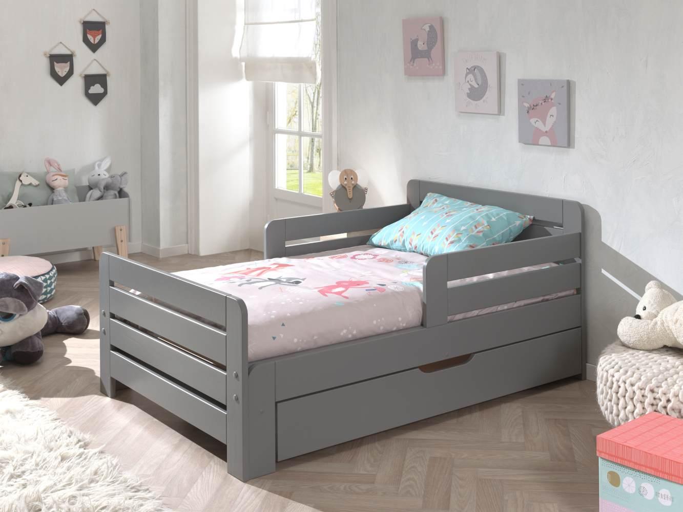 Vipack Kinderbett Jumper zum ausziehen von 90 x 140/200 cm, inkl. Bettschublade und Matratze 140+60 cm Bild 1