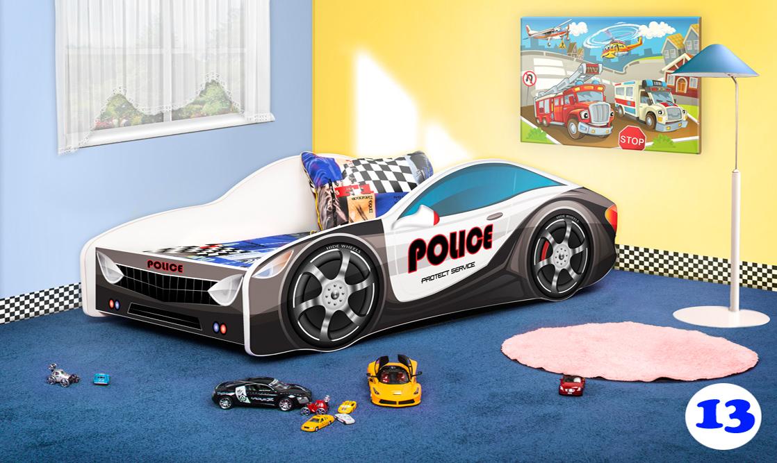 Lux4Kids Autobett 70x140 cm, Police Black White, mit Matratze und Lattenrost Bild 1