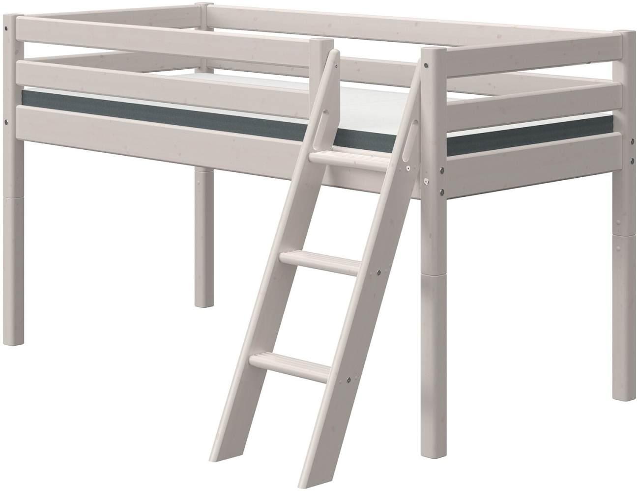 FLEXA Classic Halbhochbett mit schräger Leiter 90 x 190 cm Grau 90-10307-3-01 Bild 1