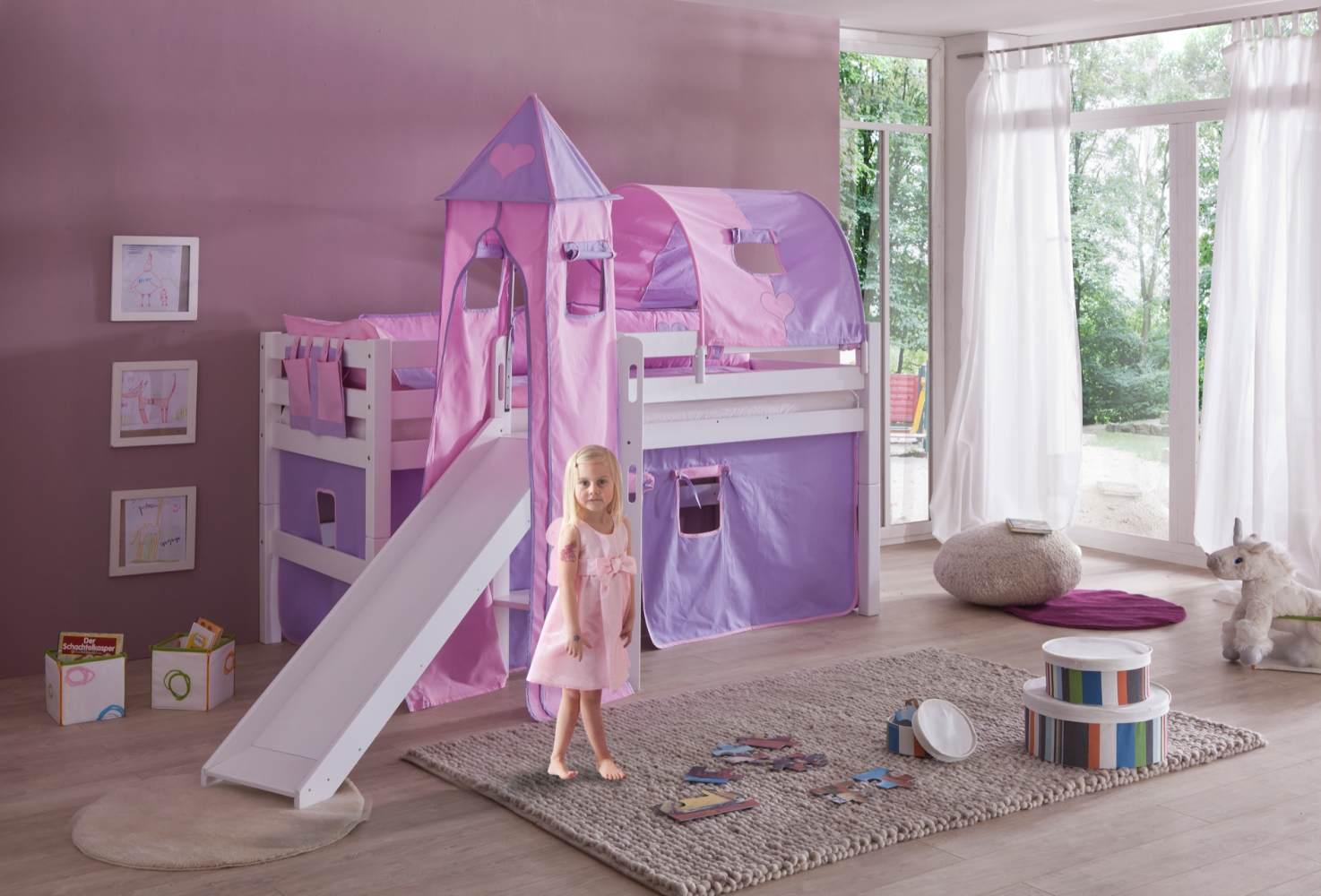 Reltia Spielbett 'Eliyas' mit Rutsche und Textilset Vorhang, 1-er Tunnel, Turm und Tasche purple/rosa/Herz Bild 1
