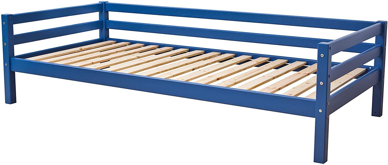 Hoppekids 'BASIC My Color' Einzelbett 90×200 cm, Blau, inkl. Rollrost, mit Rückenleiste, nachhaltig Bild 1