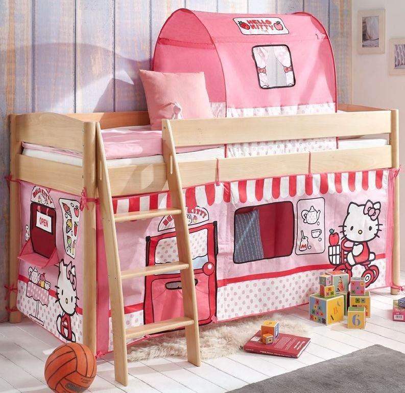 Relita 'Michelle' Halbhochbett natur, inkl. Matratze und mittleres Stoffset 'Hello Kitty' Bild 1