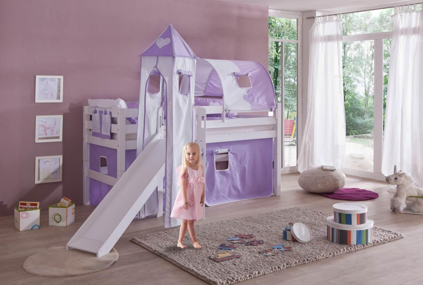Relita 'Eliyas' Spielbett mit Rutsche und Textilset Vorhang, 1-er Tunnel, Turm und Tasche purple/weiß/Herz Bild 1