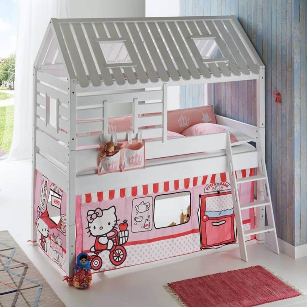 Relita Hausbett BERGEN-13 Buche massiv weiß lackiert, Textilset Disney Hello Kitty Bild 1