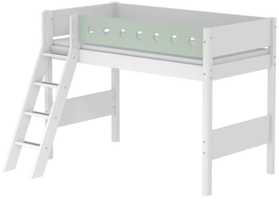 Flexa 'White' Halbhochbett weiß/mint, schräge Leiter, 90x200cm Bild 1