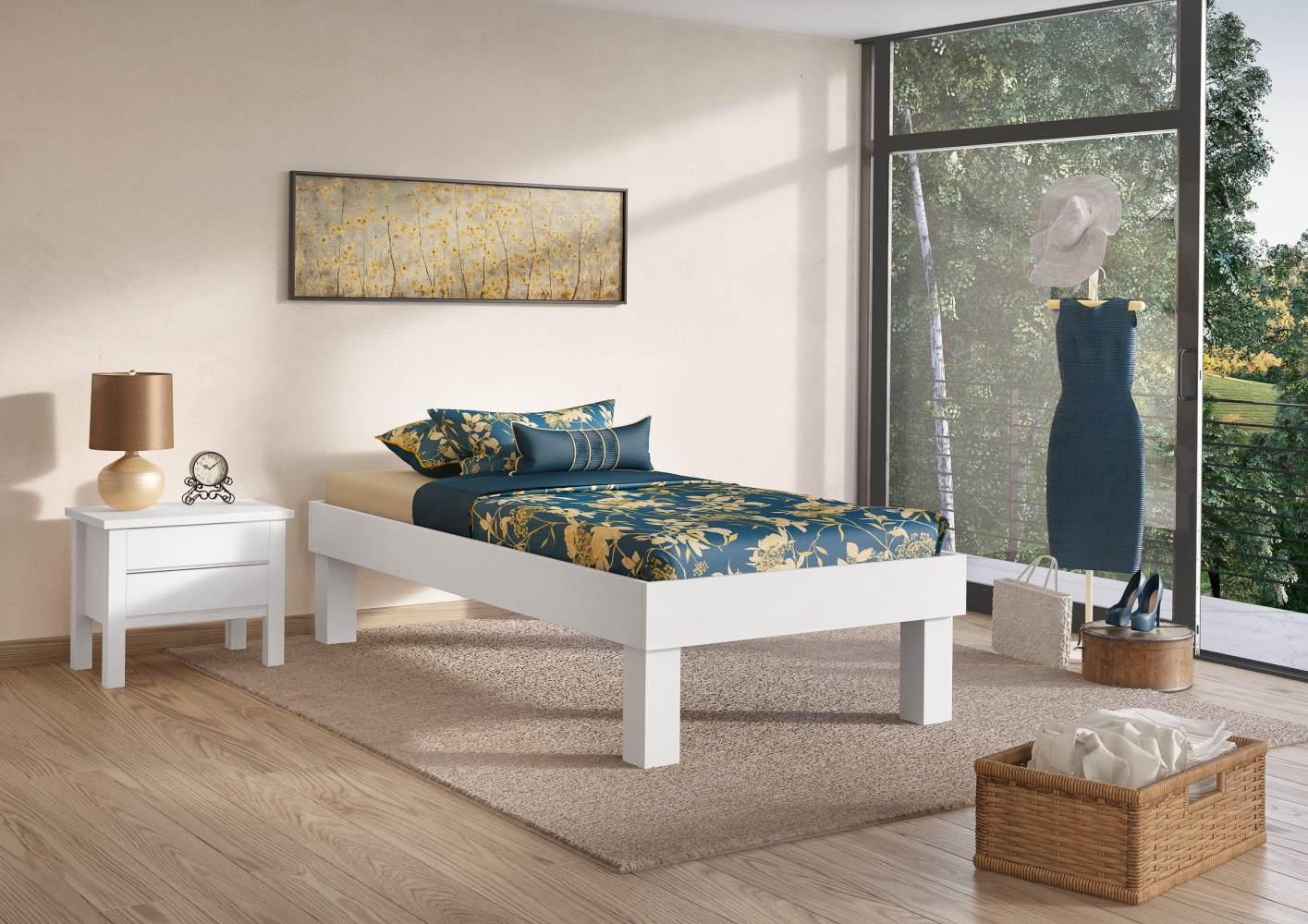 Erst-Holz Futonbett mit hohen Füßen 100x200 cm Bild 1