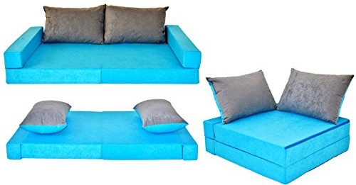 COCO-baby Kindersofa mit Bettfunktion Blue-Grey, 160 x 80 x 12 cm Bild 1