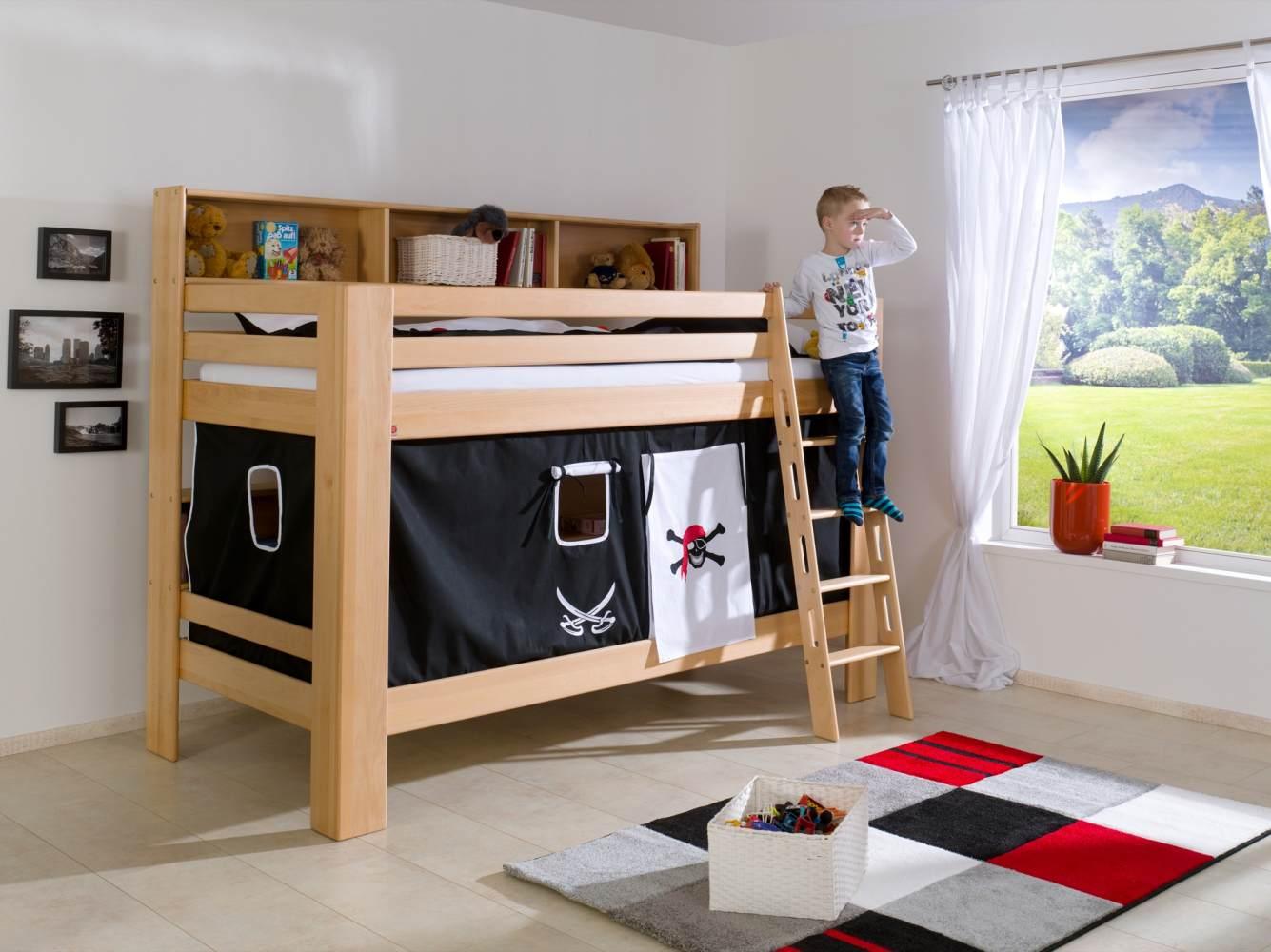 Relita 'Jan' Etagenbett mit Bücherregal inkl. Vorhang 'Pirat Schwarz/Weiß' Bild 1