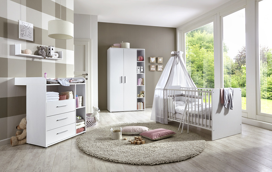 4-tlg. Babyzimmer Set 'KIM 1' weiß Bild 1
