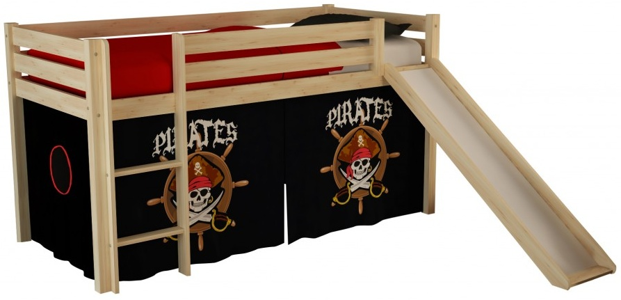 Pino Spielbett Natur lackiert 90x200 cm Piraten Soft Bild 1