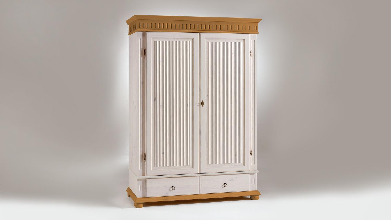 Euro Diffusion Kleiderschrank HELSINKI Kiefer massiv weiß antik-braun 138 cm Bild 1