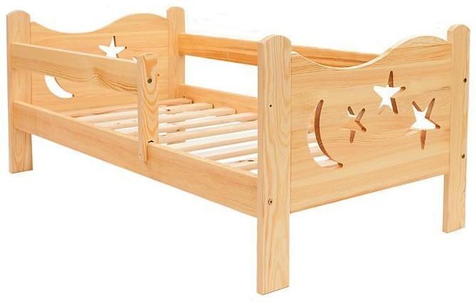 Kinderbettenwelt 'Chrisi' Kinderbett 70x140 cm, Natur unbehandelt, Kiefer massiv, inkl. Schublade, Lattenrost und Matratze Bild 1