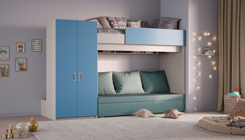 Hochbett mit Schlafsofa und Kleiderschrank, blau Bild 1