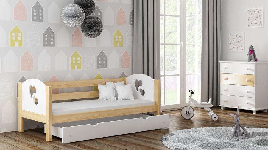 Kinderbettenwelt 'Felicita F3' Kinderbett 80x160 cm, Natur, inkl. Matratze, Schublade und Rausfallschutz Bild 1