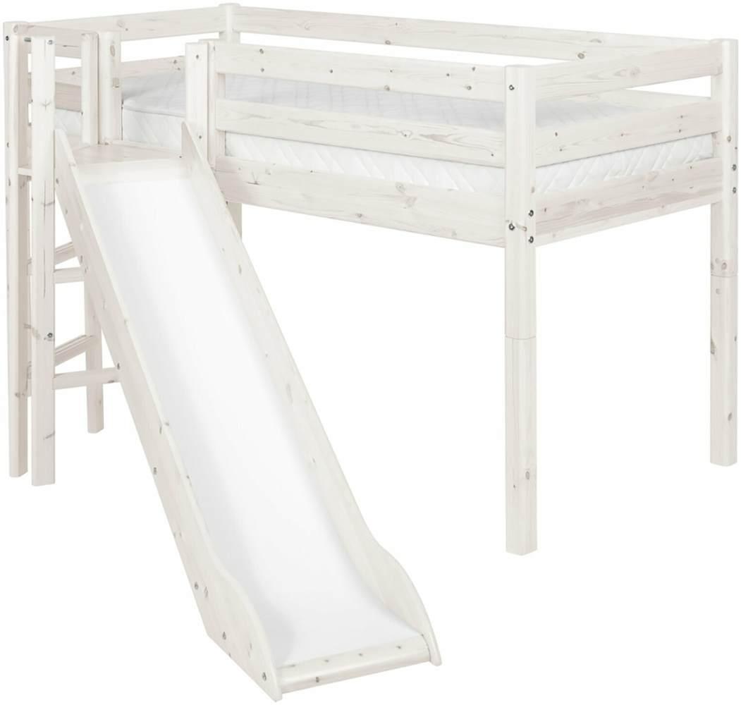 Flexa 'Classic' Halbhochbett mit Rutsche, weiß, 90 x 190 cm Bild 1