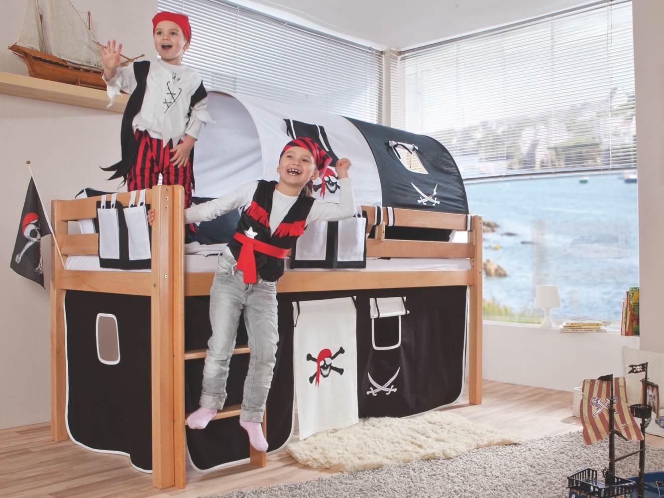 Relita Halbhohes Spielbett ALEX Buche massiv natur lackiert mit Stoffset Pirat Bild 1