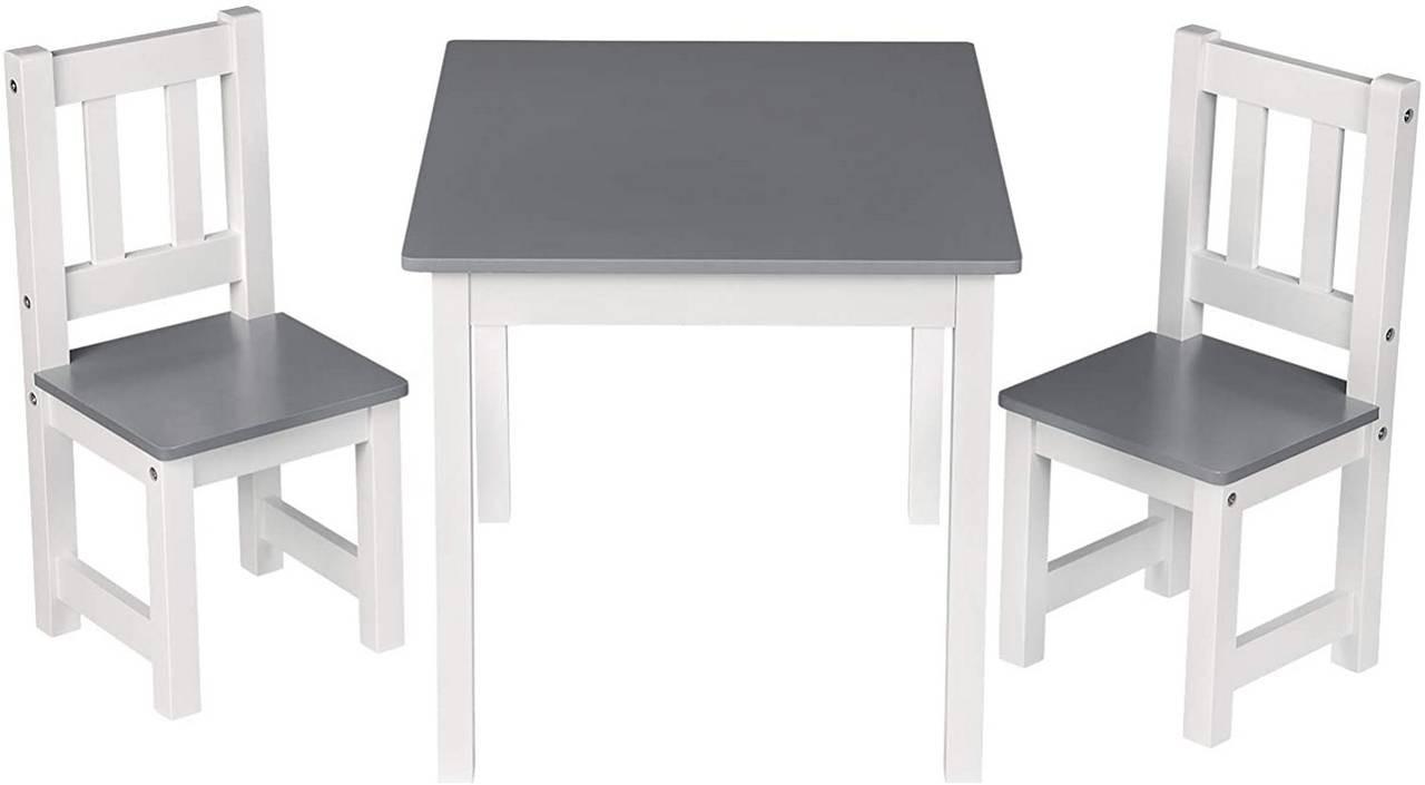 Kindersitzgruppe Kindertisch mit 2 Stühle weiß-grau Modell Kelo Bild 1