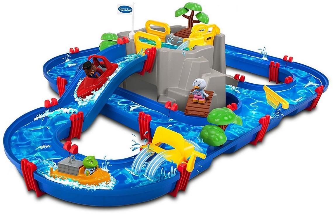 AquaPlay 'Mountain Lake' Wasserbahn, 126 x 88 x 35 cm, inkl. Berg mit Wasserfallrutsche, 2 Containerboote, 3 Spielfiguren, Paddelrad, Brücke und Bäumen Bild 1