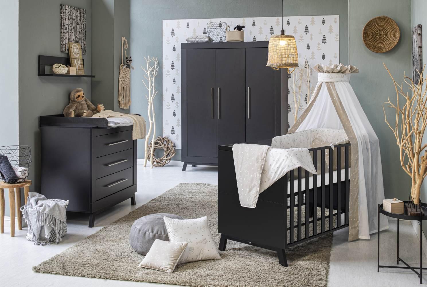 Schardt 'Miami Black' 3-tlg. Babyzimmer-Set, schwarz, 3-türiger Schrank Bild 1