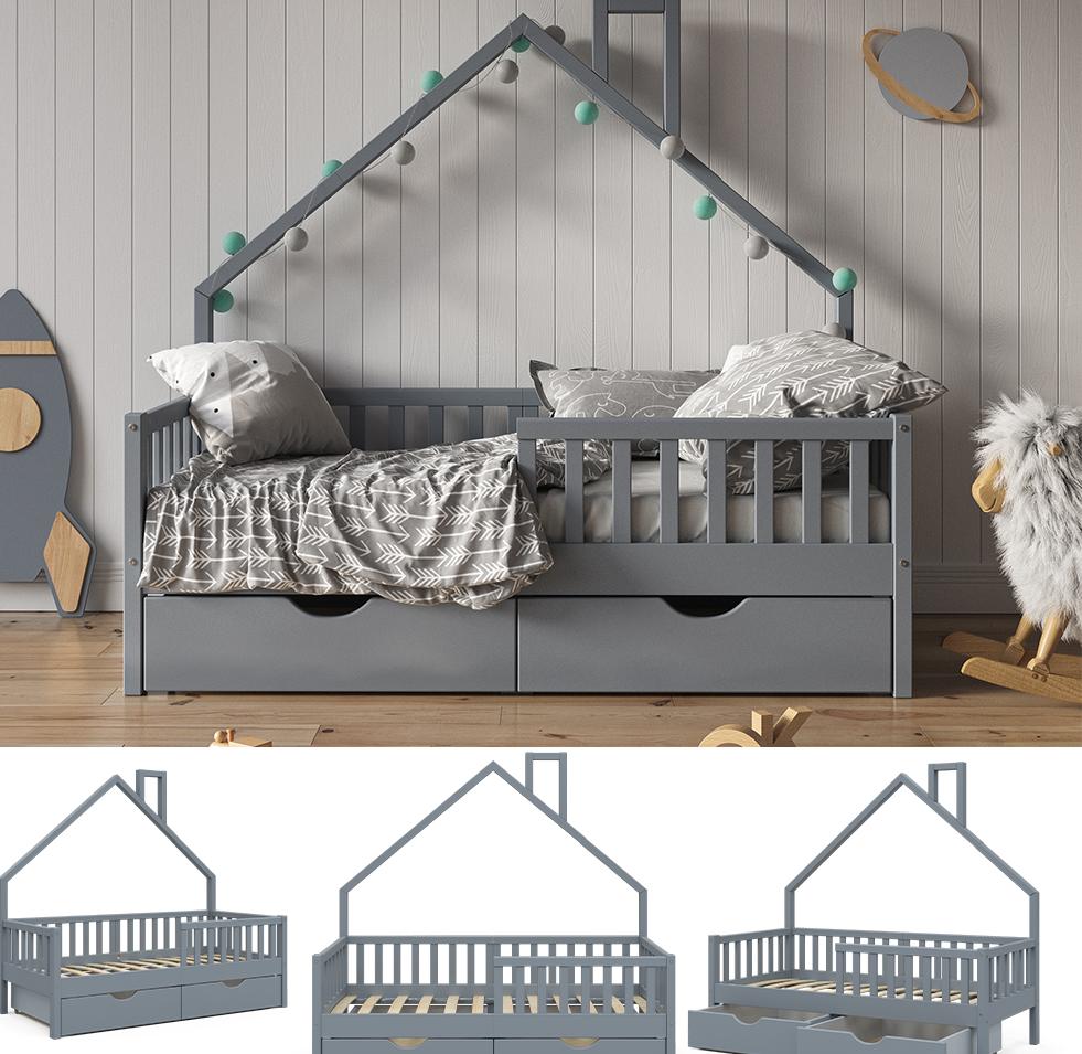 VitaliSpa 'Noemi' Hausbett grau, 80x160cm, Massivholz Kiefer, inkl. 2x Schubladen, Lattenrost und Rausfallschutz Bild 1